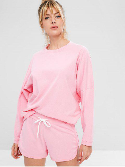 Ensemble de Sweat-shirt de Sport Surdimensionné et de Short - ROSE PÂLE S Mobile
