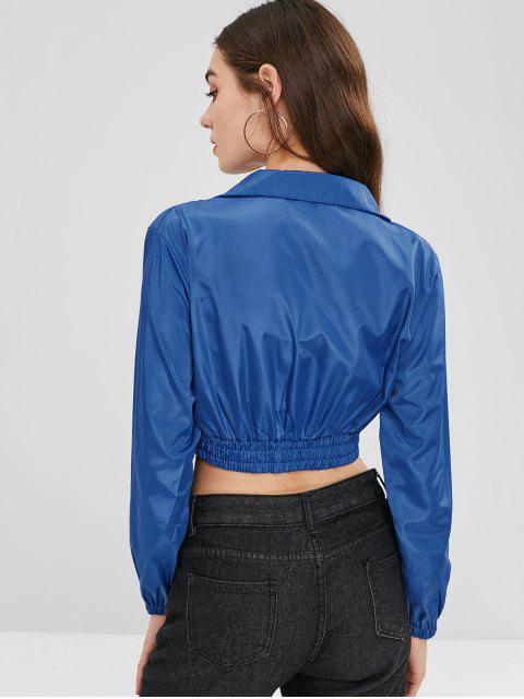 outfits Cropped Buckled Windbreaker Jacket - OCEAN BLUE M Mobile