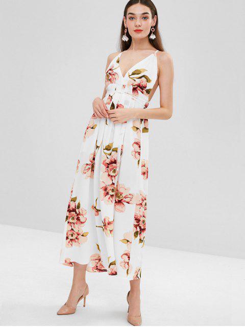 ladies Slit Floral Criss Cross Maxi Dress - WHITE M Mobile