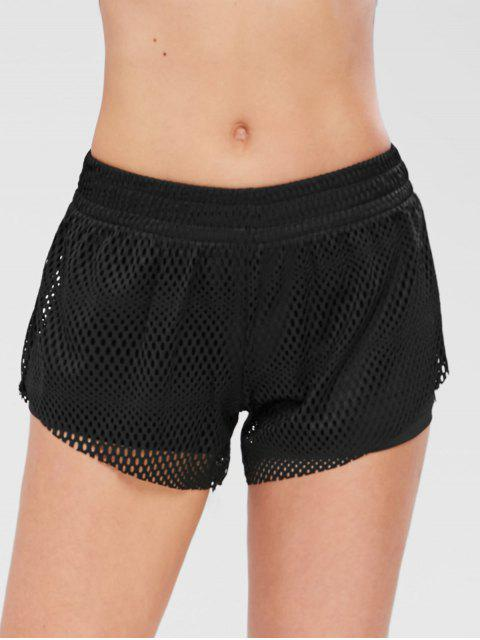 Aushöhlen Overlay Gym Shorts - Schwarz M Mobile