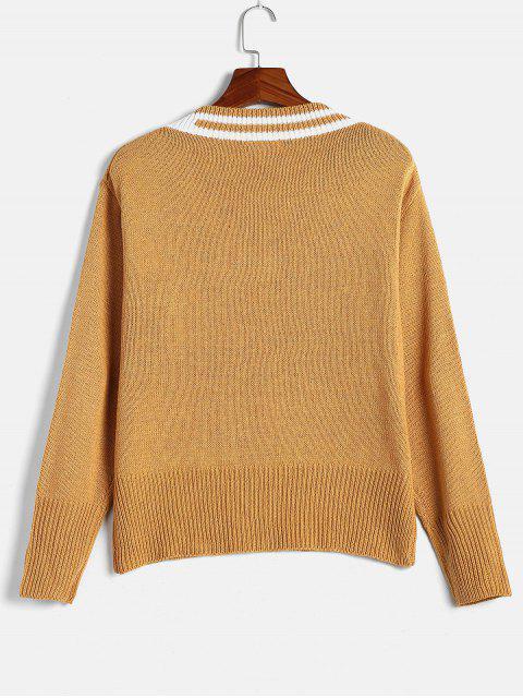 sale Striped Preppy Sweater - MUSTARD ONE SIZE Mobile