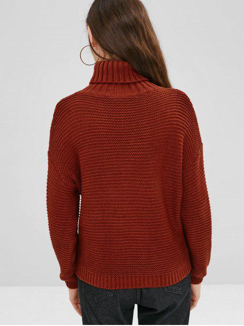 buy Cable Knit Drop Shoulder Turtleneck Sweater - CHESTNUT RED ONE SIZE Mobile