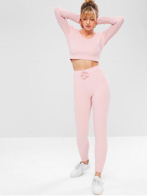 Conjunto de pantalones y sudadera de gimnasia de canalé - Rosa L Mobile