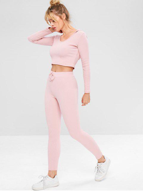 Gerippter Gym Hoodie und Hosen-Set - Rosa L Mobile