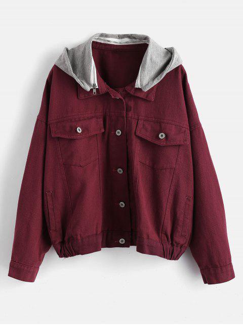 outfit Hooded Denim Jacket - VELVET MAROON M Mobile