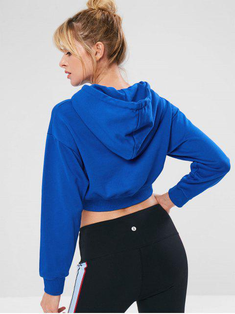 lady Sports Crop Drop Shoulder Hoodie - BLUE S Mobile