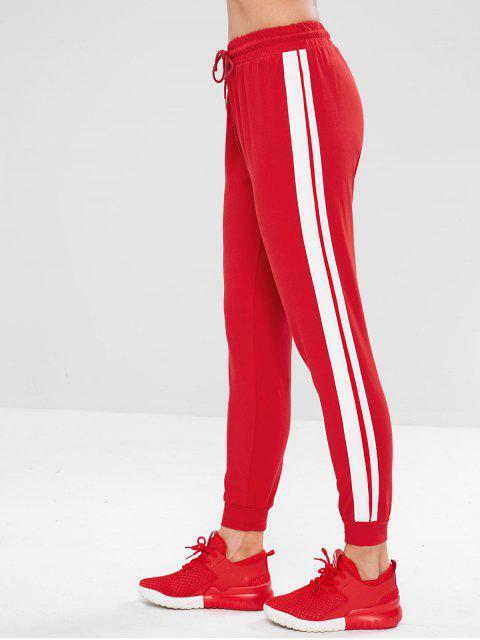 Pantalones de gimnasio con efecto de jogger lateral en contraste - Rojo M Mobile