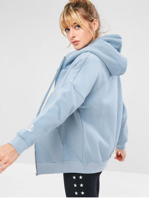 latest Zip Up Sports Tunic Hoodie - BABY BLUE S Mobile