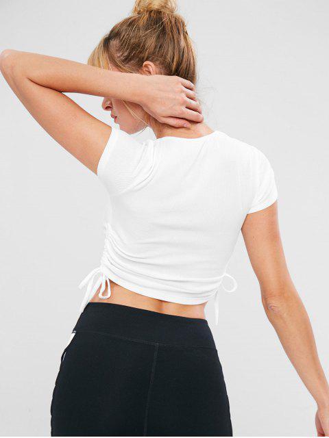 Drawstring Crop Stretchy Fitnessstudio Tee - Weiß M Mobile