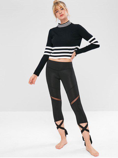 T-shirt Rayé Tricoté Sans Couture - Noir M Mobile