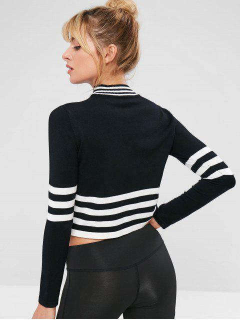 outfits Seamless Knitted Stripe Boxy Tee - BLACK S Mobile