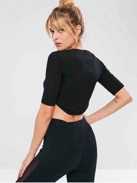 Sports Tee de gymnastique extensible - Noir S Mobile