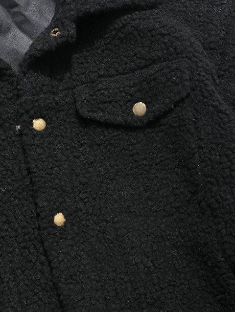 shop ZAFUL Snap Button Pocket Fluffy Jacket - BLACK L Mobile