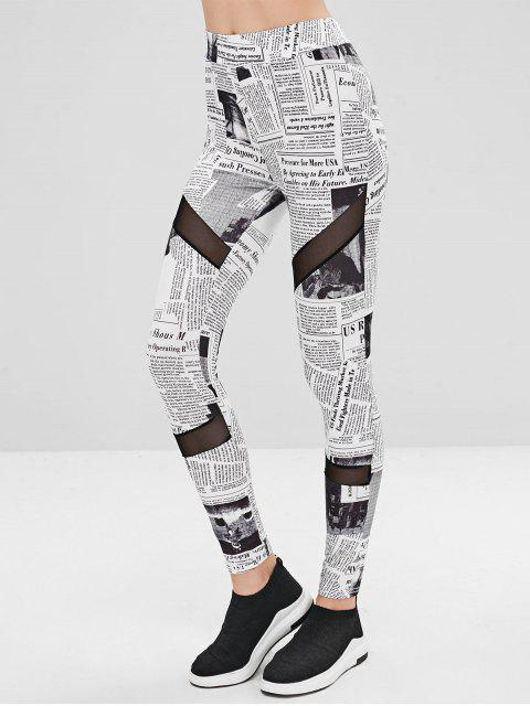 affordable Mesh Panel Newspaper Leggings - WHITE M Mobile