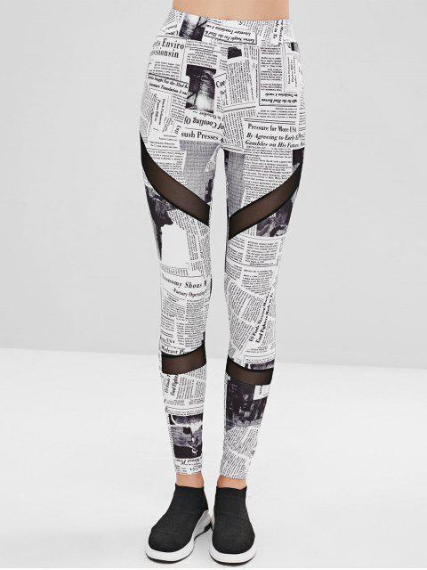 lady Mesh Panel Newspaper Leggings - WHITE L Mobile