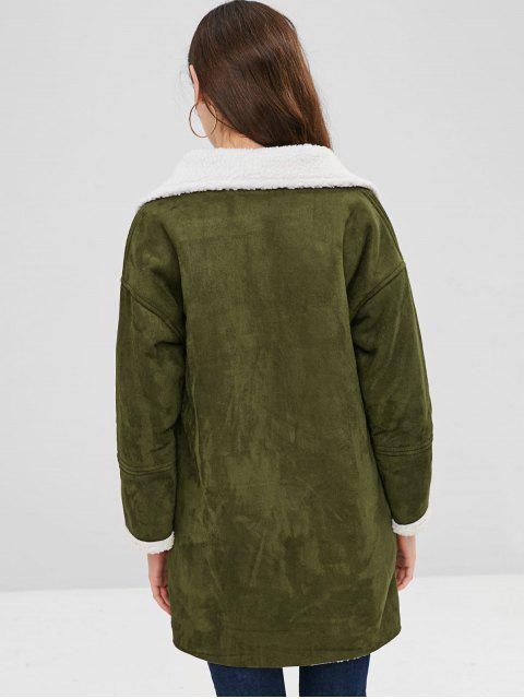 chic Pockets Double Breasted Sheepskin Coat - ARMY GREEN XL Mobile