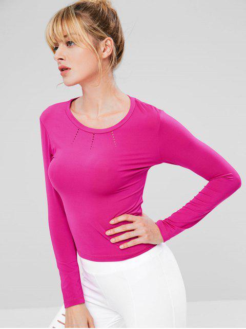 Camiseta de gimnasia de manga larga rasgada - Rosa Brillante M Mobile