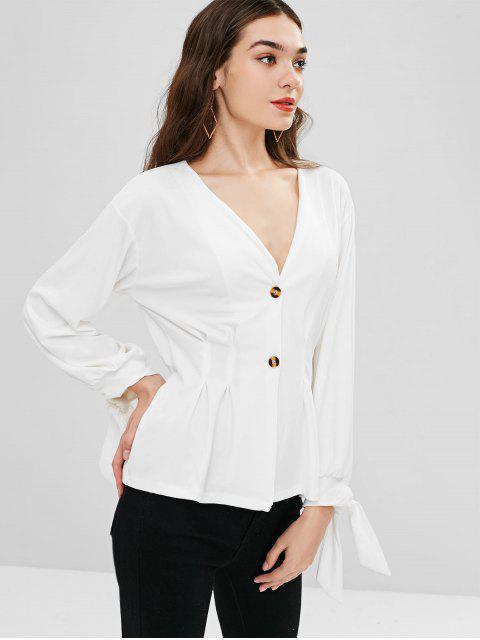 women's Tie Cuffs V Neck Jacket - WHITE XL Mobile