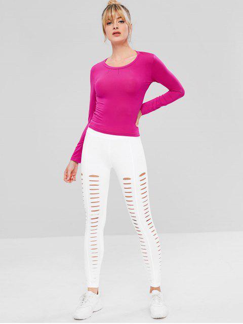 Zerrissenes Langarm-Sport-T-Shirt - Helles Rosa L Mobile
