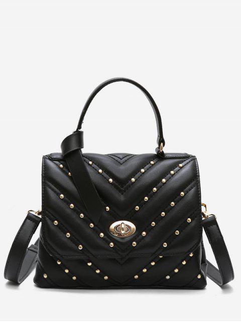 womens V Pattern Rivet Tote Bag - BLACK  Mobile