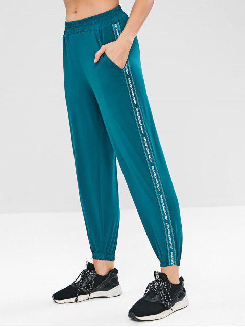 Pantalones jogger de letras - Azul Verdoso M Mobile