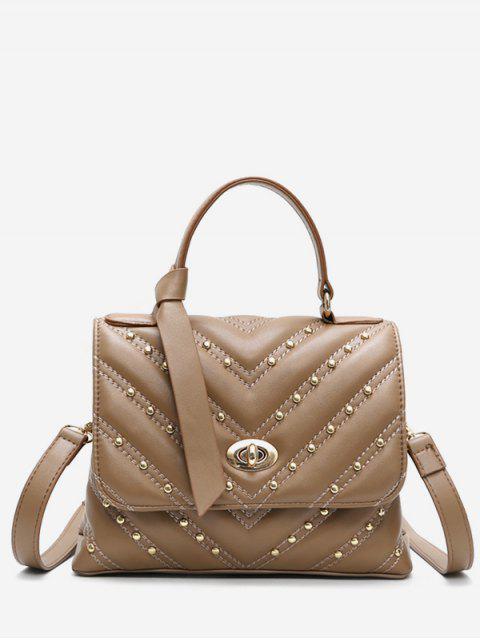 ladies V Pattern Rivet Tote Bag - KHAKI  Mobile
