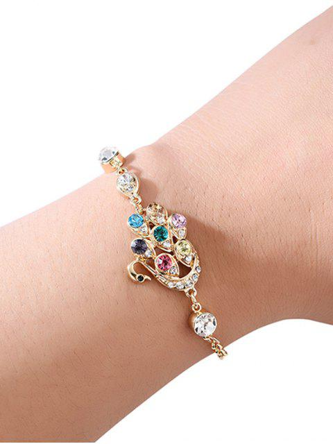 new Swan Faux Crystal Chain Bracelet - GOLD  Mobile