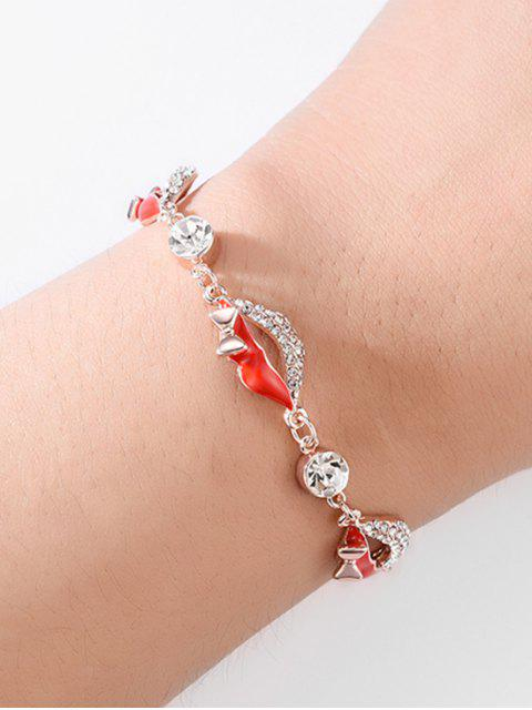 outfit Faux Crystal Red Lips Design Bracelet - ROSE GOLD  Mobile