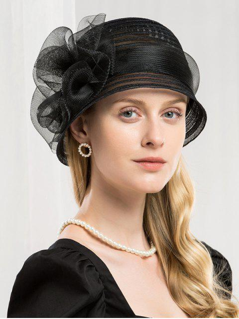 shop Elegant Stripe Floral Bowler Hat - BLACK  Mobile