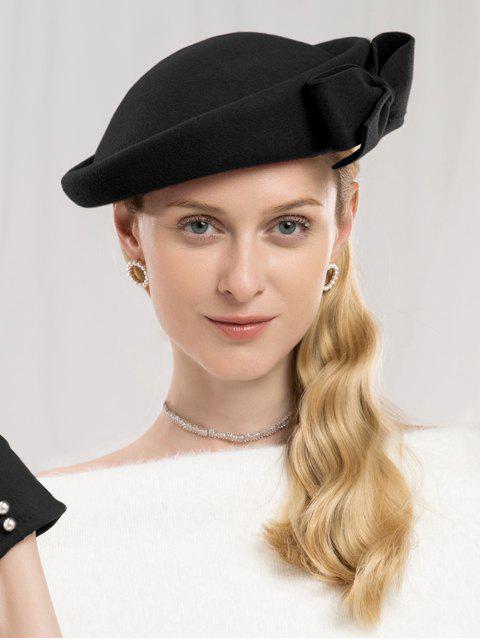 Chapeau élégant en laine à côtés Bowknot - Noir  Mobile