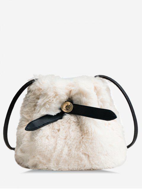 shop Bucket Faux Fur Crossbody Bag - WARM WHITE  Mobile