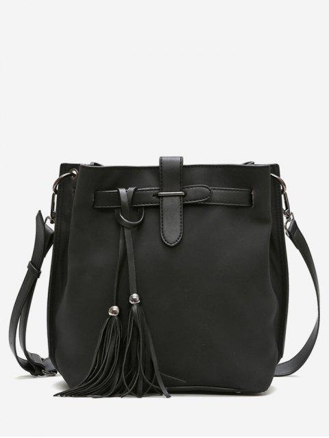 fashion Tassel String Design Bucket Bag - BLACK  Mobile