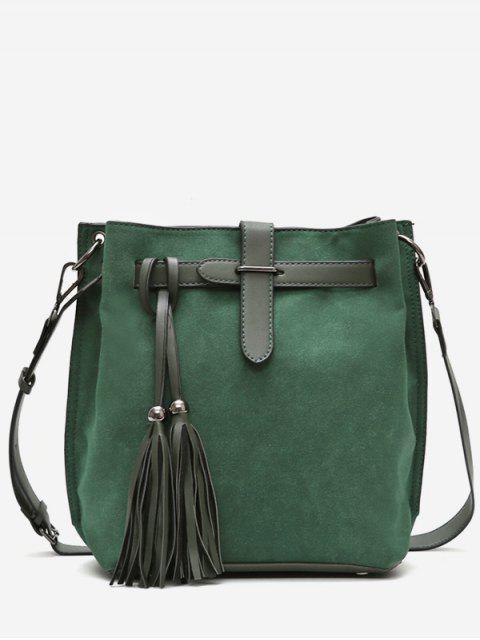 chic Tassel String Design Bucket Bag - DEEP GREEN  Mobile
