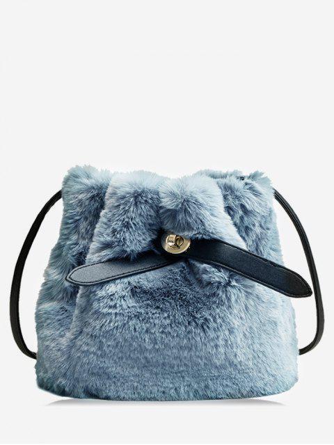 fancy Bucket Faux Fur Crossbody Bag - BLUE GRAY  Mobile