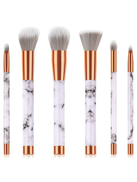 affordable 6 Pcs Marbles Eyeshadow Powder Blush Fiber Makeup Brush Suit - WHITE  Mobile