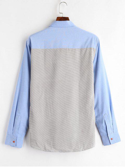 outfits Color Block Patch Fleece Shirt - SKY BLUE XL Mobile