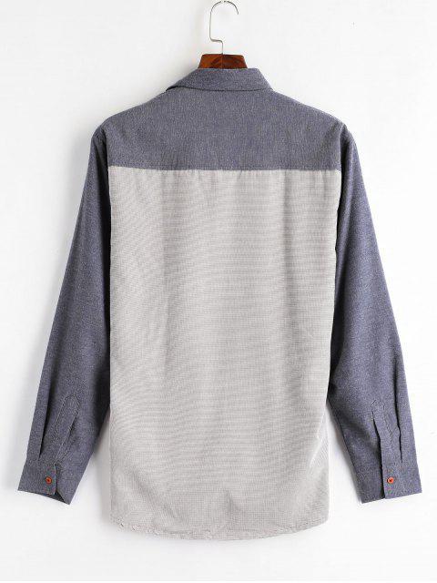 new Color Block Patch Fleece Shirt - BLUE GRAY XL Mobile