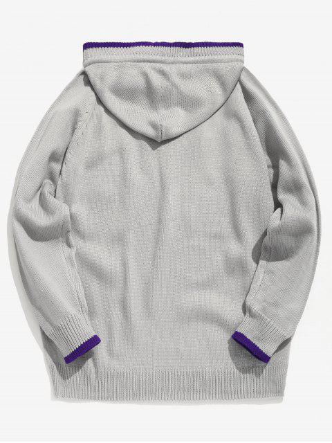 latest Applique Hooded Knit Sweater - LIGHT GRAY L Mobile