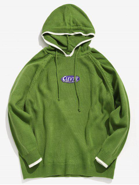 fashion Applique Hooded Knit Sweater - YELLOW GREEN L Mobile