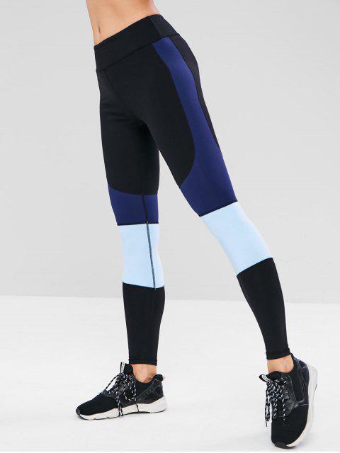 Leggings de entrenamiento ajustados con bloques de color ZAFUL - Negro L Mobile