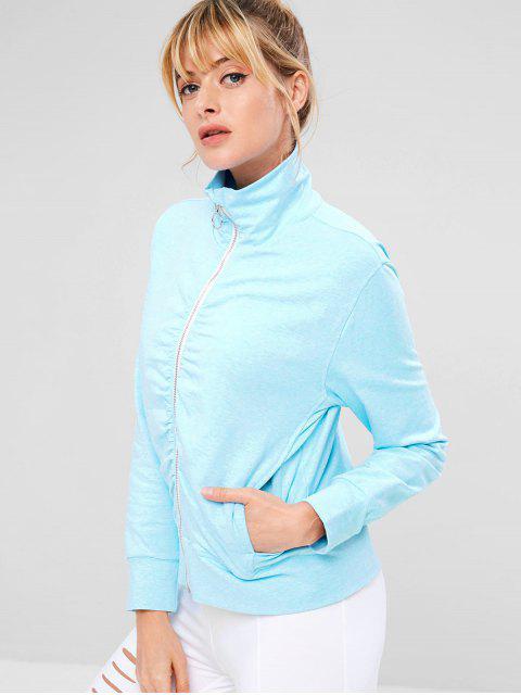 Zaful geraffte Zipper Pocket Jacke - Helles Himmelblau L Mobile