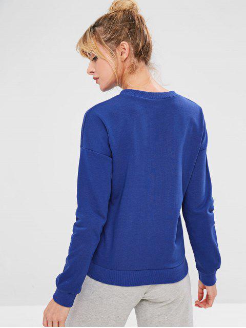 sale ZAFUL Star Drop Shoulder Sweatshirt - BLUE M Mobile
