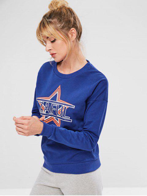 Sudadera ZAFUL Star Drop con hombros descubiertos - Azul S Mobile