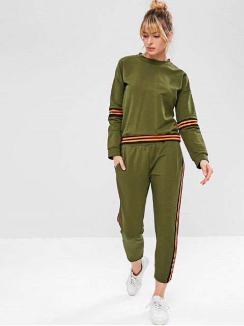 ZAFUL - Schulterfreies, gestreiftes Sweatshirt - Armeegrün L Mobile