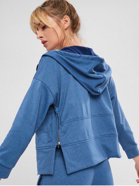 new ZAFUL Drop Shoulder Zipper Slit Hoodie - OCEAN BLUE S Mobile