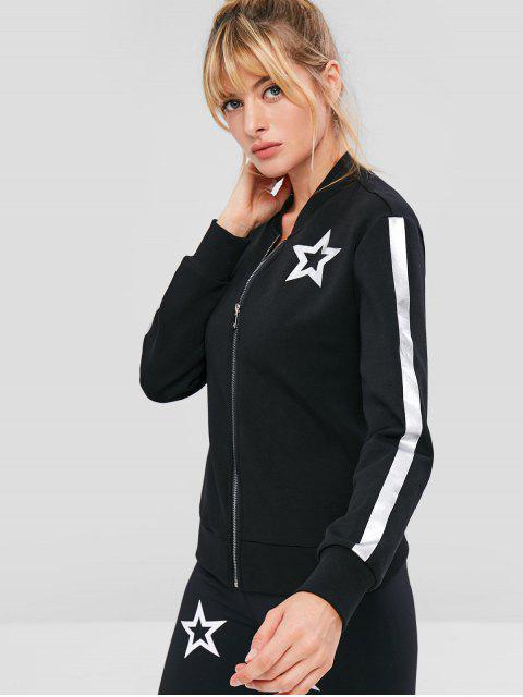affordable ZAFUL Star Print Zipper Jacket - BLACK L Mobile