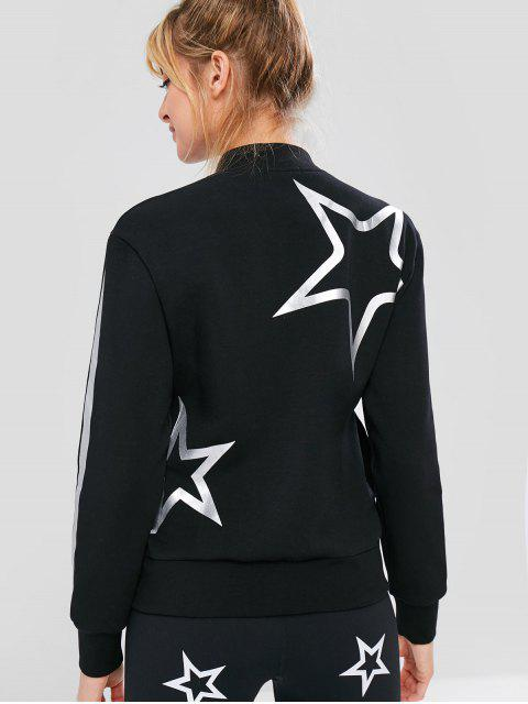 buy ZAFUL Star Print Zipper Jacket - BLACK M Mobile