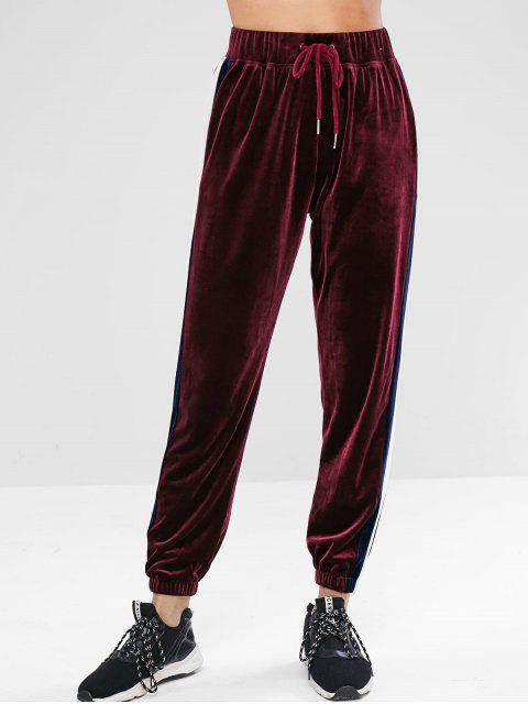 ZAFUL Striped Velvet Drawstring Jogger Pantalones - Vino Tinto L Mobile