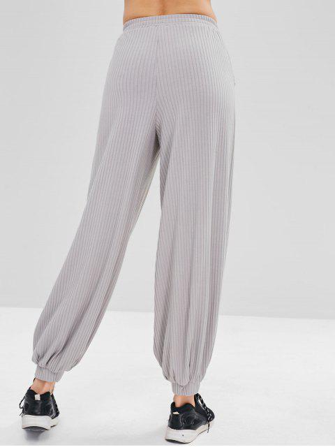 chic ZAFUL High Waist Ribbed Baggy Pants - GRAY XL Mobile