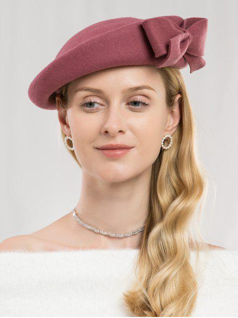 shop Bowknot Side Woolen Elegant Hat - TULIP PINK  Mobile